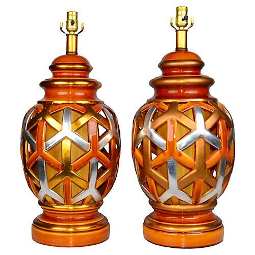 Goyard-Style Lamps, Pair