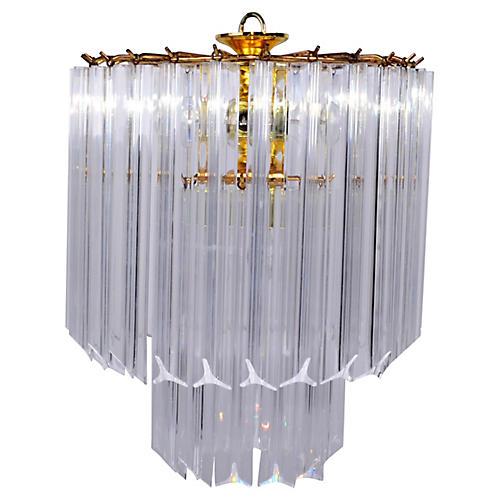 5-Light Lucite & Brass Chandelier Canopy