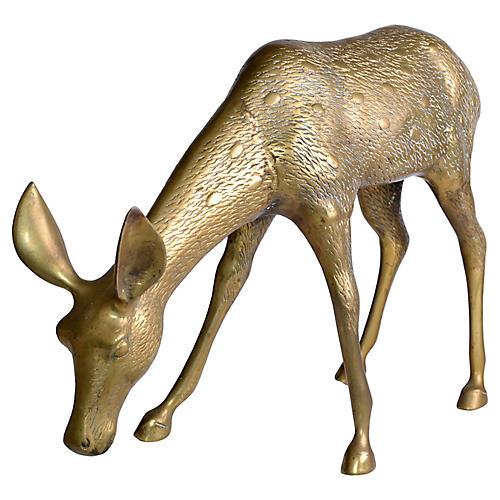 Golden Mid-Century Modern Brass Fawn