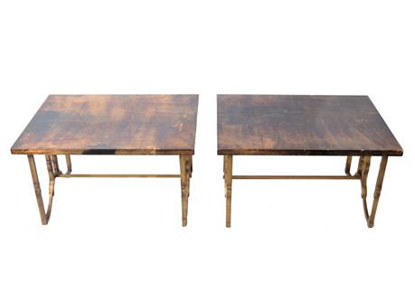 Goatskin & Gold Side Tables, S/2