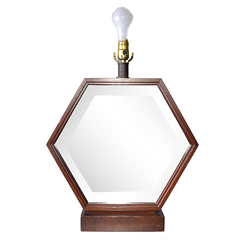 Hexagonal Wood Table Lamp
