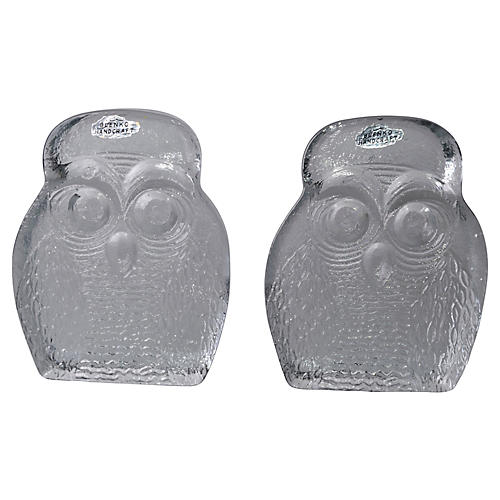 Blenko Thick Glass Owl Bookends