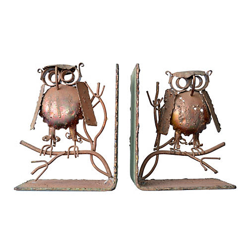 Curtis Jere Copper Owl Bookends