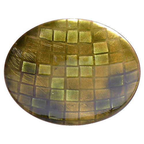 Green Checked Glass & Enamel Plate