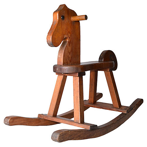 Midcentury Birch Wood Rocking Horse