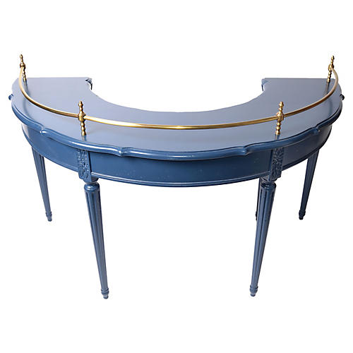 Semicircular Desk w/ Brass Rail