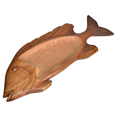 Hand-Carved Wood Fish Platter