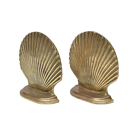 Handcrafted Brass Scallop Shell Bookends