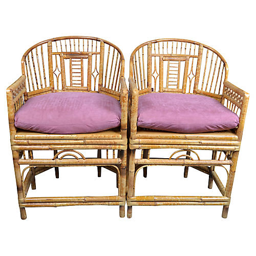 Chinoiserie Bamboo Armchairs, Pair