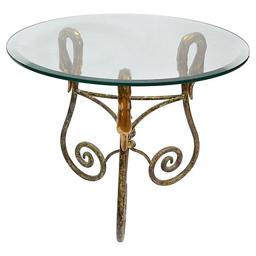Wrought Iron Side Table Italy Brass Swan