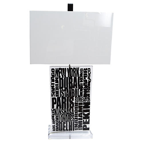 Cities Lucite Table Lamp & Shade