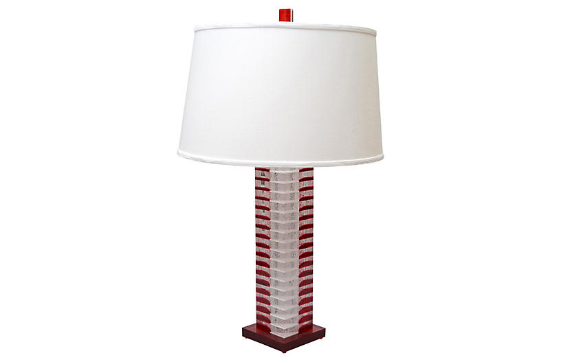 Stacked Red & White Lucite Table Lamp