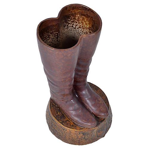 Terracotta Boots Umbrella Stand