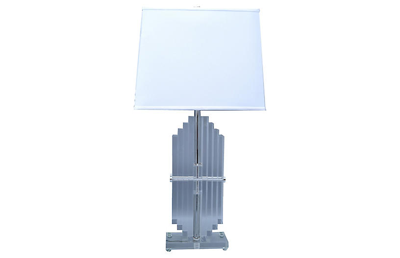 Empire Stacked Lucite Table Lamp