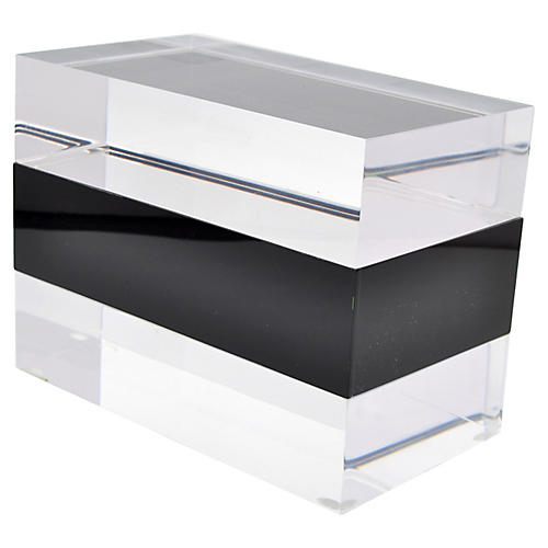 Clear & Black Lucite Jewelry Box