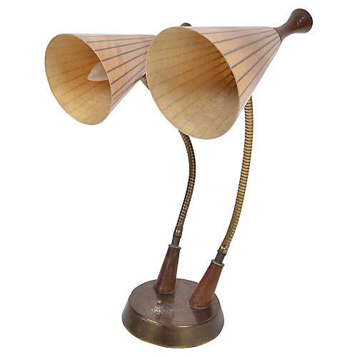 Danish Modern Dual Table Lamp Walnut