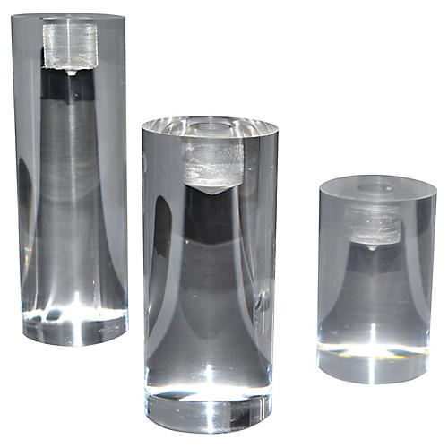 Lucite Candleholders, S/3