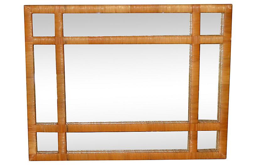 Handwoven Wicker Wall Mirror