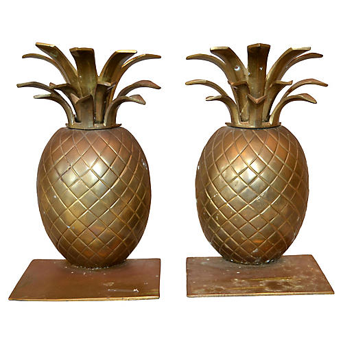 Handcrafted Bronze Pineapple Bookends
