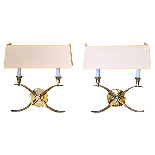 Stainless Steel Double Sconces, Pair