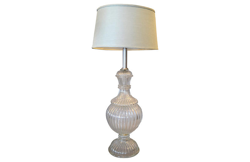 Clear Ribbed Murano Glass Table Lamp