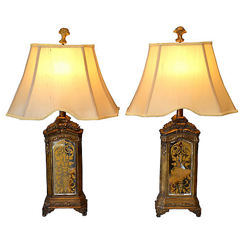 Contemporary Mirrored Glass Lamps, Pair