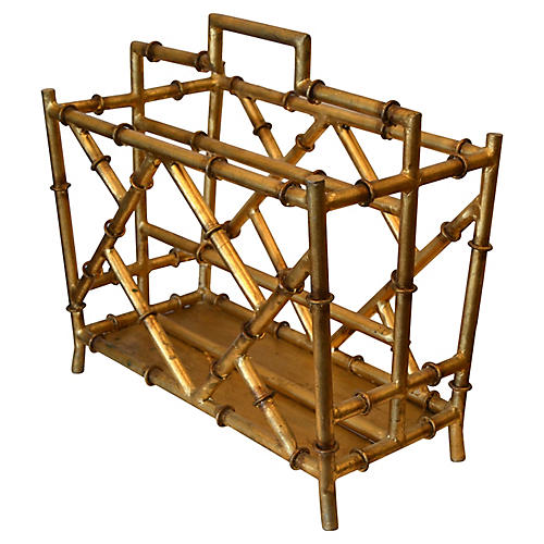 Golden Metal Faux Bamboo Magazine Rack