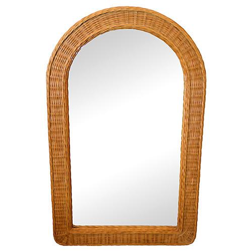 Boho Chic Arch Handwoven Rattan Mirror