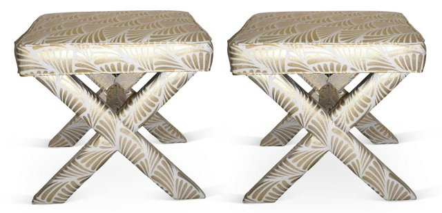 Metallic Gold Patterned X Benches, Pair
