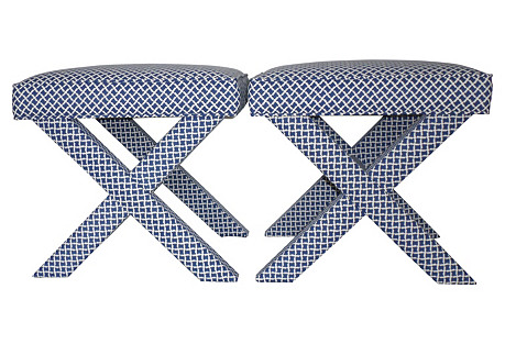 Blue & White X Benches,  Pair