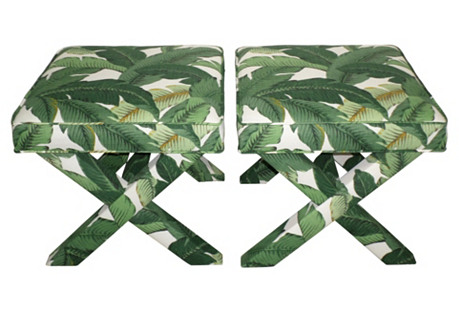 Palm Leaf X-Benches, S/2