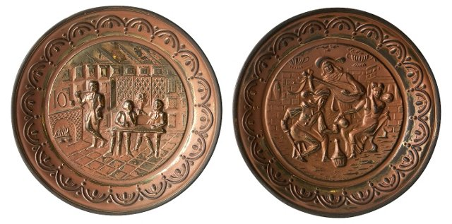 Brass Over Copper Plaques, Pair