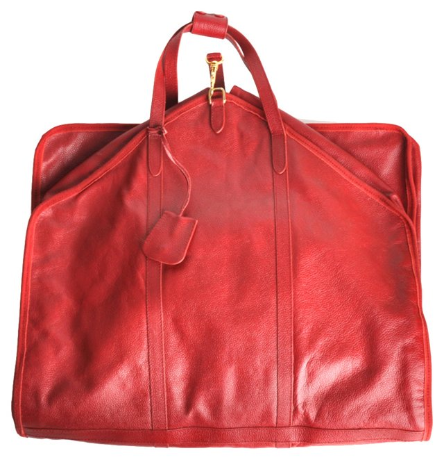 Red Italian Leather Garment Bag