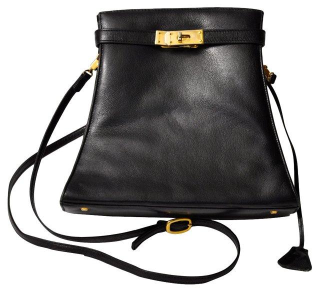 Birkin-Style Black Leather Purse
