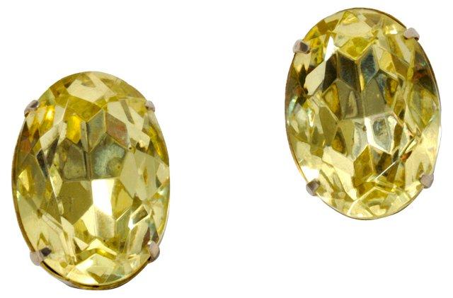 Yellow Rhinestone Earrings