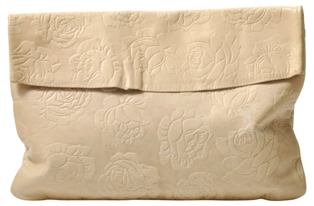 Ivory Rose-Embossed Leather Clutch