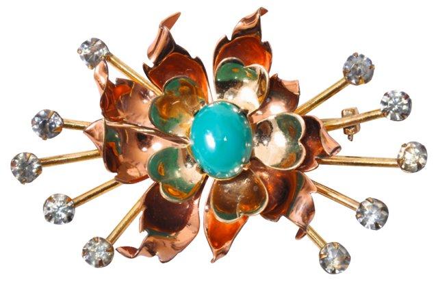 Copper Flower Brooch