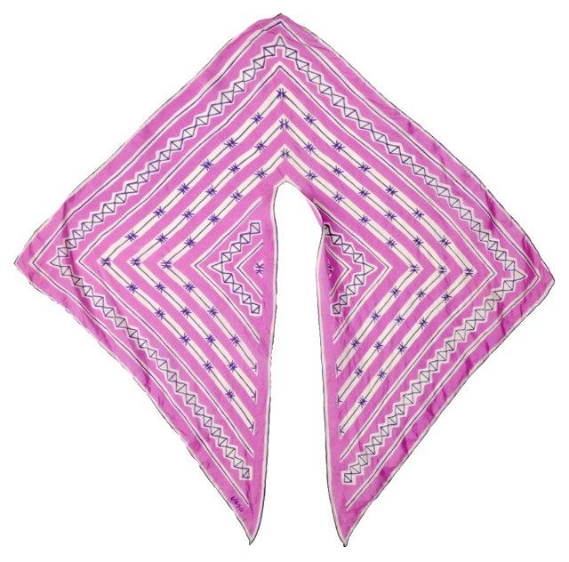 Vera Printed Silk Wing Tip Scarf