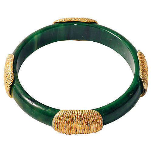 Faux-Jade Gold Thumbprint Bangle