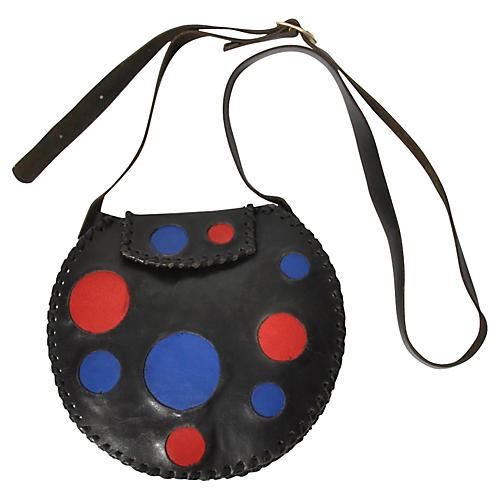 Modern Art Circle Leather Purse