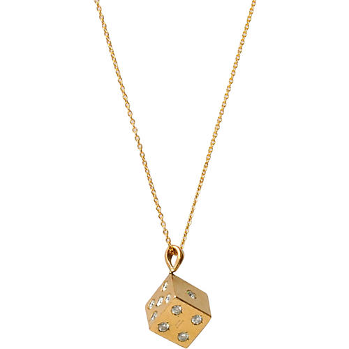 9K Gold Diamond Dice Necklace