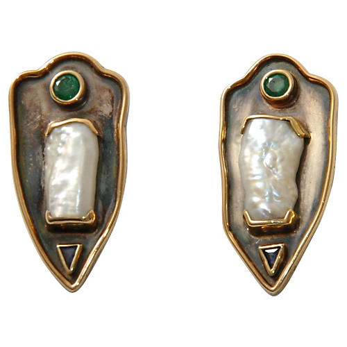 14K Gold & Natural Pearl Crest Earrings