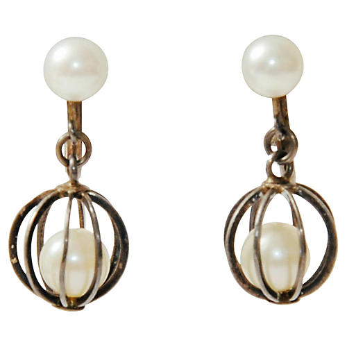 Caged Pearl & Sterling Dangle Earrings