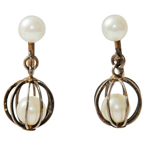 Caged Pearl & Sterling Dangle Earrings