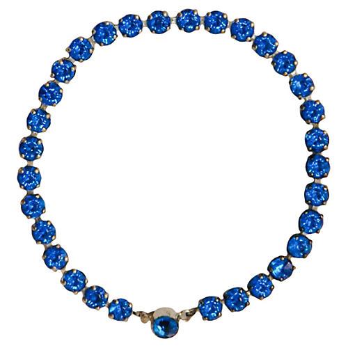 Blue Rhinestone Sterling Tennis Bracelet