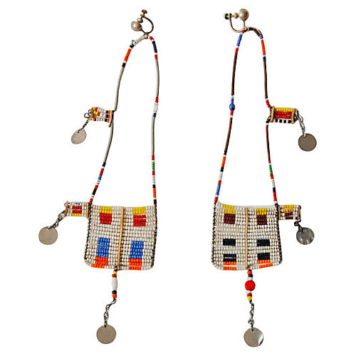 Multicolor Maasai Dangle Earrings