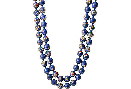 Blue Cloisonné Bead Necklace