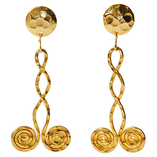 Gold Coil Drop Earrings