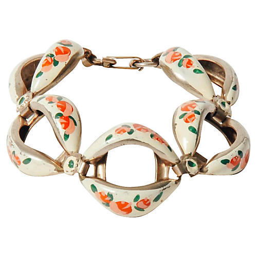 Floral Painted Link Bracelet
