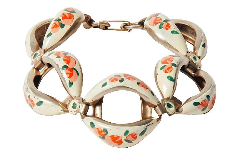Floral Painted Link Bracelet - Maeven